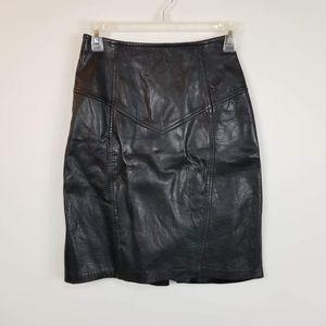 La Nouvelle Renaissance Leather Pencil Skirt